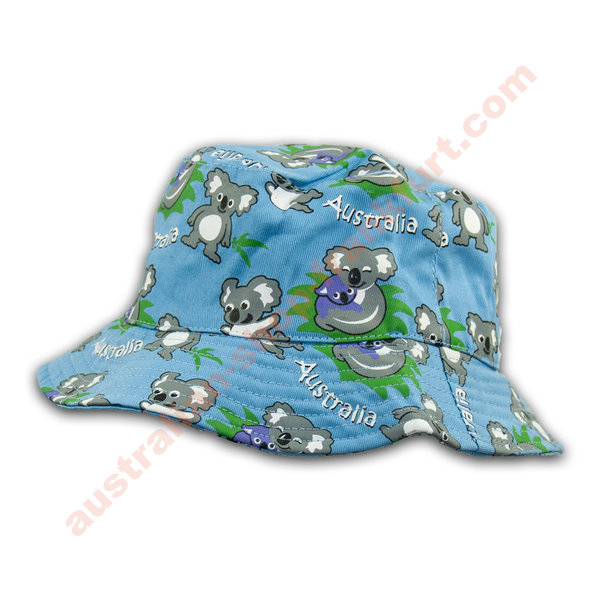 Bucket Hat for Kids- Motiv Koala -blau