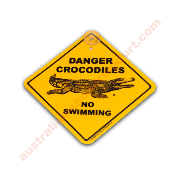 Warnschild für's Auto - Danger Crocodiles - no swimming