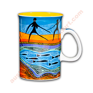 Tasse- Aboriginal Motiv - Ngogol (fishing)